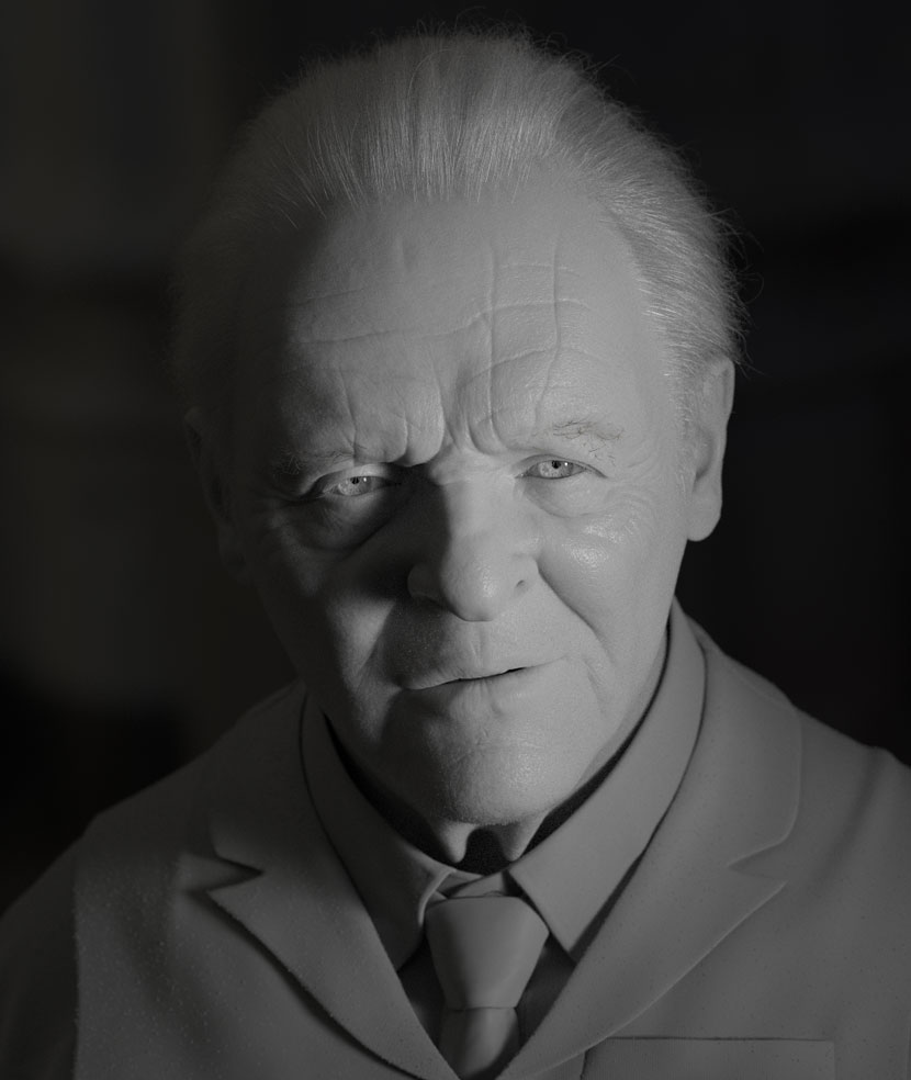 3D Grey Render of Anthony Hopkins